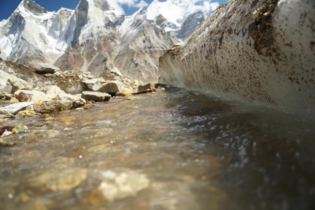 Glacier water runs towards the Gangotri Glacier