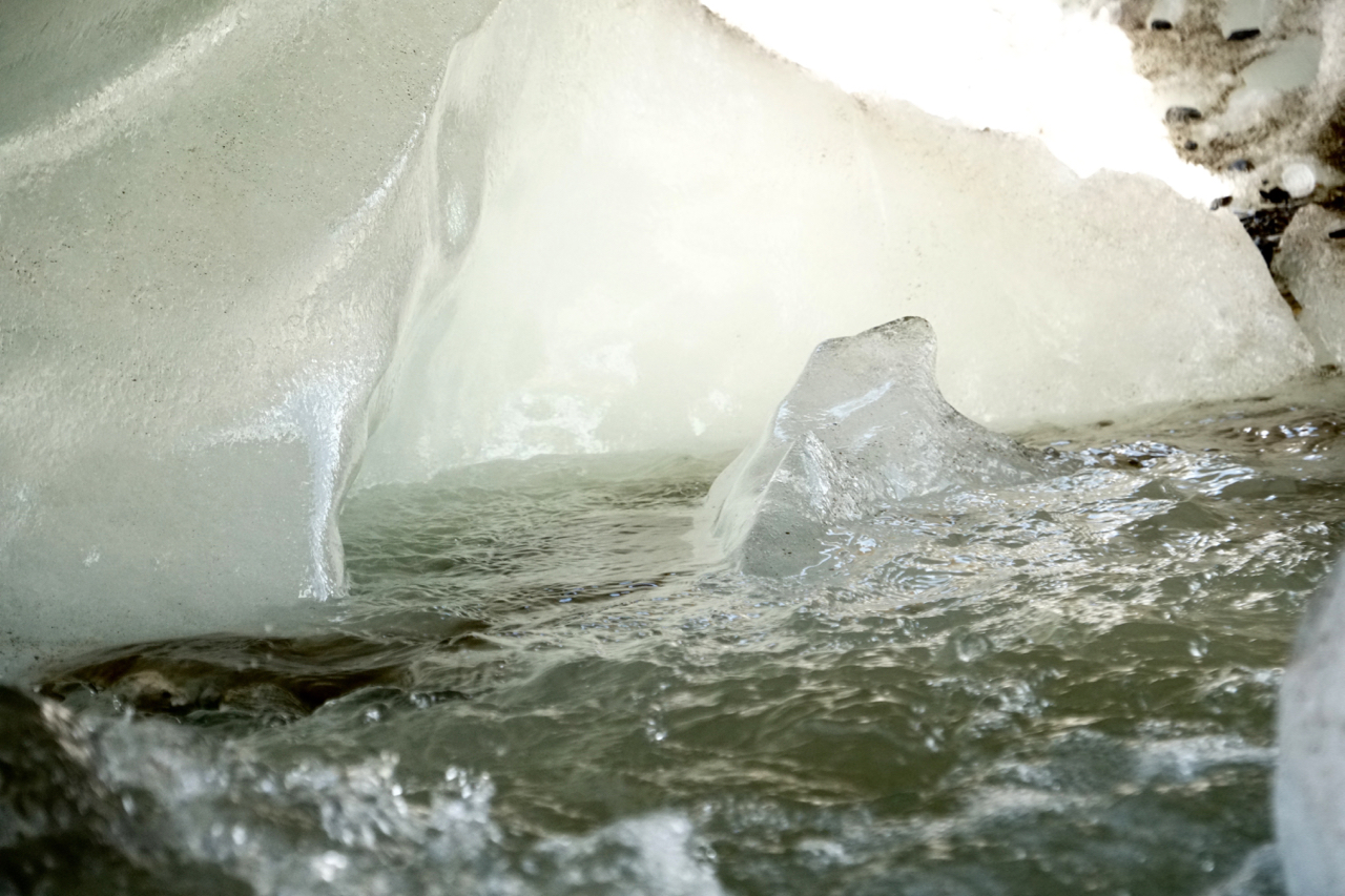 Glacial water that will pass beneath the Gangotri Glacier and into the Ganges River