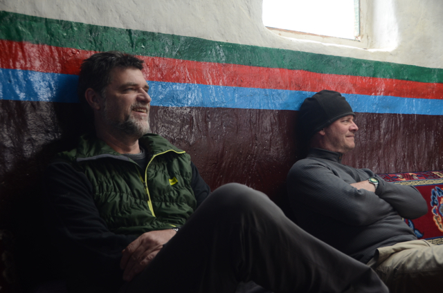 Andrew (left) and Mike at peace (and tea) in Lo Manthang, Upper Mustang, Nepal.
