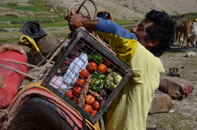 Sadanand had a way of convincing others to assist. Here we have our veggies loaded by a friend of Sadanand's upon departure.