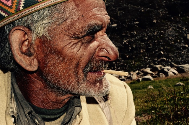 "Biari of the mountains is one of those whose words are reverent, tangible and entirely authentic. Having tended sheep in the Himalayas of Himachal Pradesh, his observations are based upon living every moment within them. Intuition and an intimacy makes his thoughts and words those worth listening to. Our expedition team sat with him while he spoke of the mountains' ""health"". Sipping tea on a brittle morning he reminded us that what happens in the mountains, will inevitably affect the worlds further down. 55 of his 63 years have been spent in the valleys of the Chandra River watching wolves, blizzards, and sun rays touch his life."
