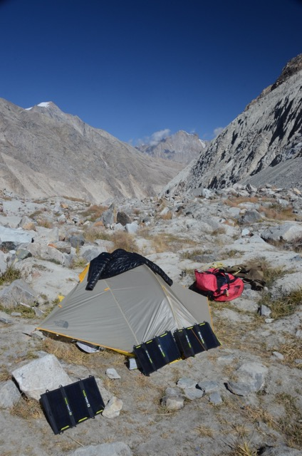 Powering up using our sponsored Goal Zero Panels. Sun-power is the only way to go in the high mountains.