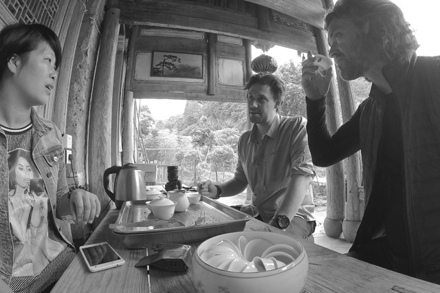 Frank and I taking yet more servings of tea. This little tea session was taken at a little monastery within the Wuyishan protected area.