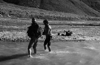 Kamal and I cross yet another glacial stream