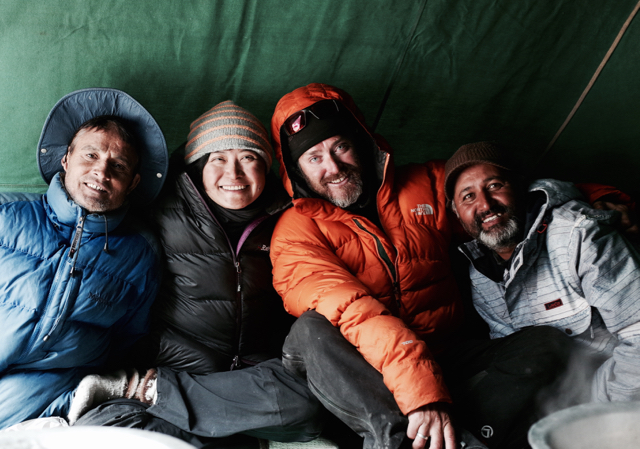 left to right: Bishan, Debra, myself, and Kapil in a moment of tea-inspired warmth in Karma's divine tent